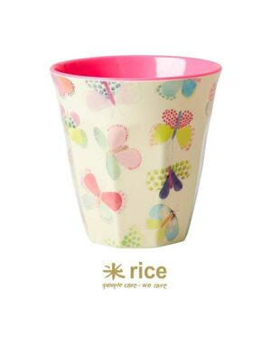 rice melamine cup with butterfly print medium